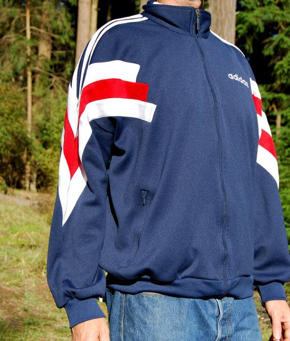 80's Mens Adidas Jacket Red White Blue USA by SurfandtheCity