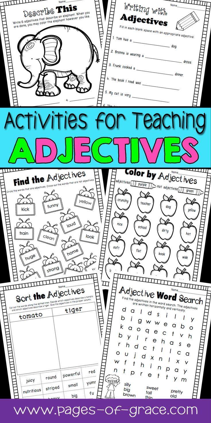 medium resolution of Adjectives Unit (1st-2nd Grade)   Teaching adjectives