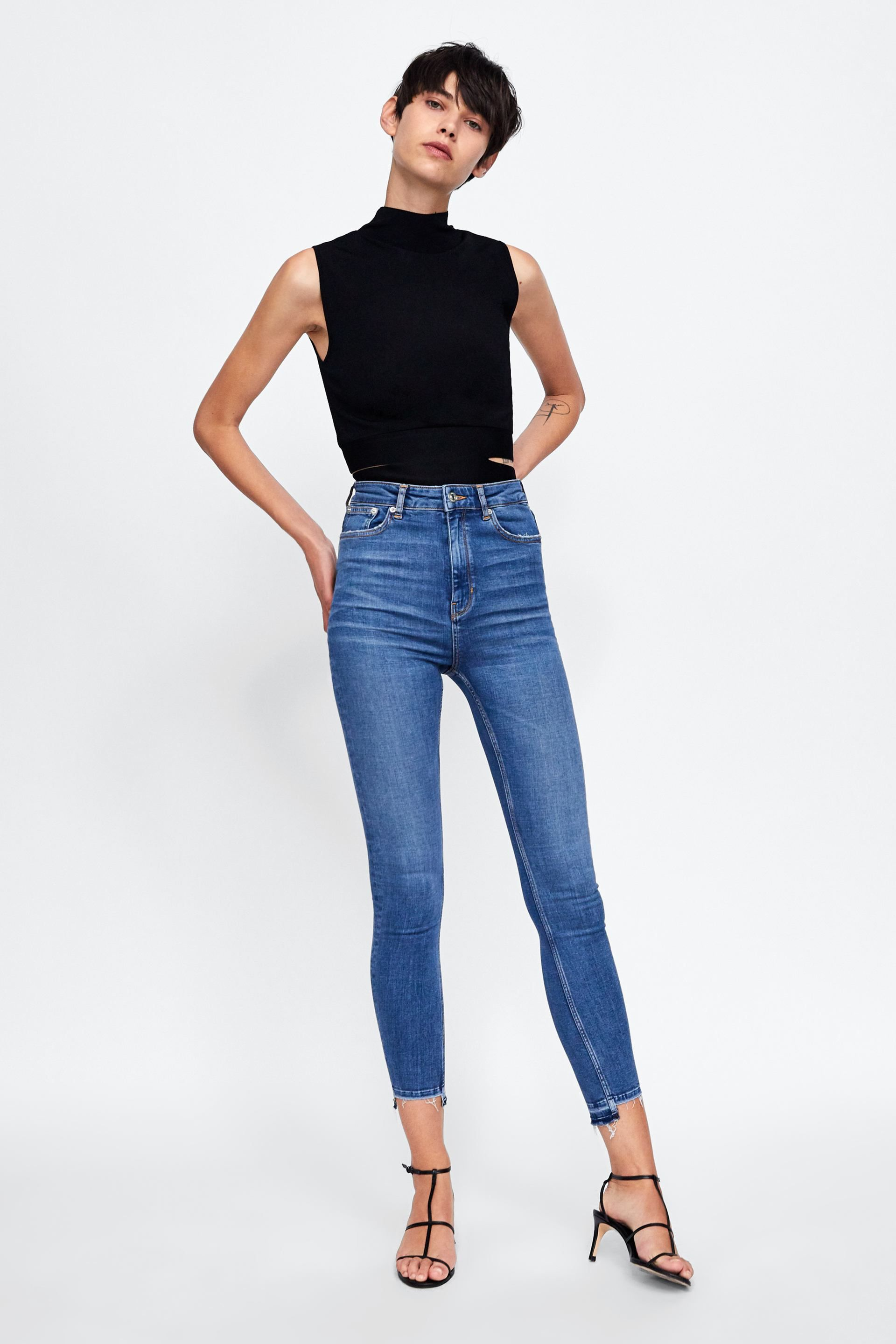 43f4f461 Image 1 of JEANS ZW PREMIUM HIGH WAIST SKINNY DOVER BLUE from Zara