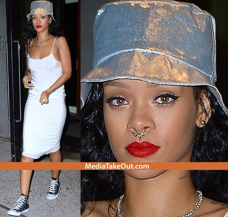 Rihanna Shows Off Her New NOSE RING . . . We're NOT FANS OF THAT ISH . . . Especially Since She Did One Of Them BULL NOSE PIERCING!!!