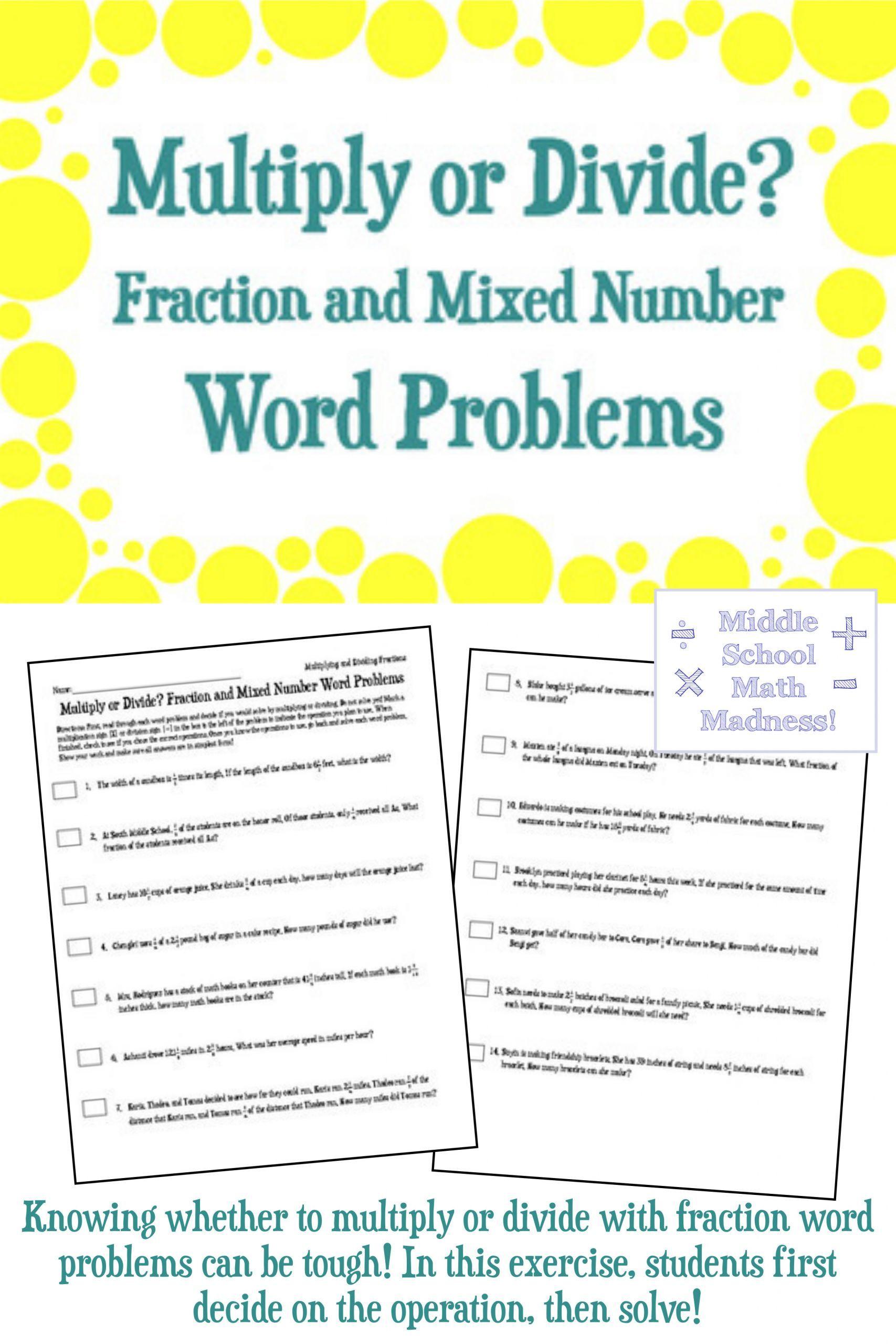 5 Fraction Multiplication Word Problems Multiply Or Divide