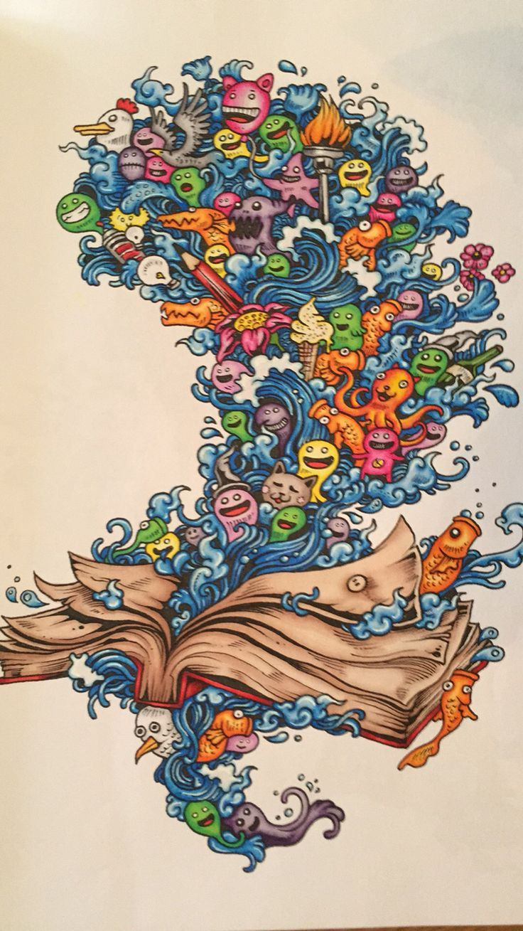 Book And Critters From Kerby Rosanes Doodle Invasion Coloured With Promarkers While Gel Pen