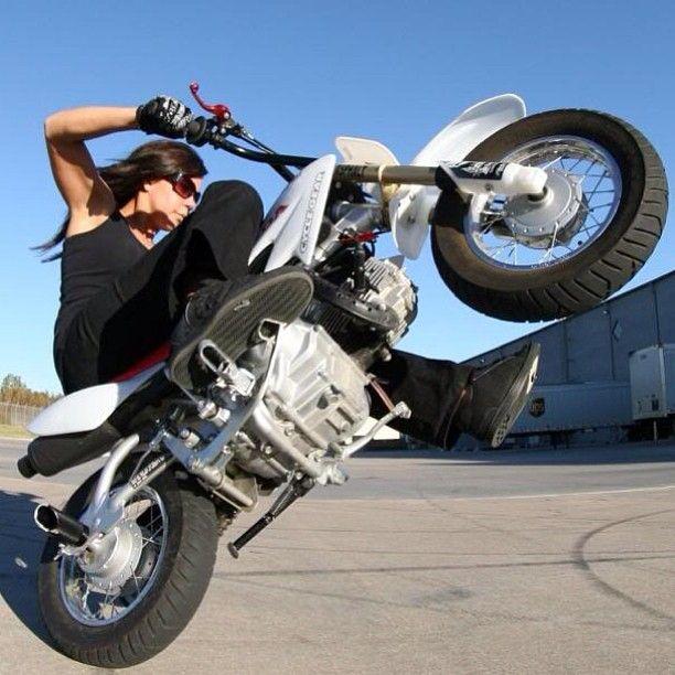 Wheelie Stuntride Motorcycle Girl Biker Girl Stunts Motorcycle