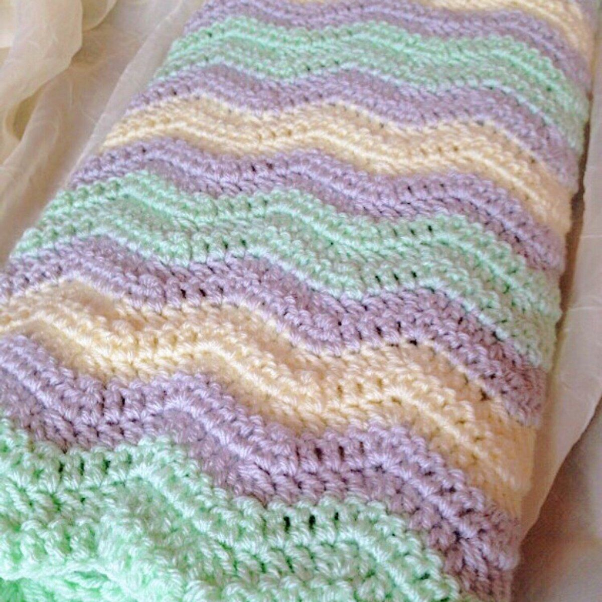 BABY SHOWER GIFT Hand Crochet Baby Blanket Teal Greens and Lavender