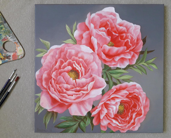 Check Out This Item In My Etsy Shop Https Www Etsy Com Listing 609189761 Bouquet Of Peonies Oil Painting Gentle Sanat Cicek Naturmort