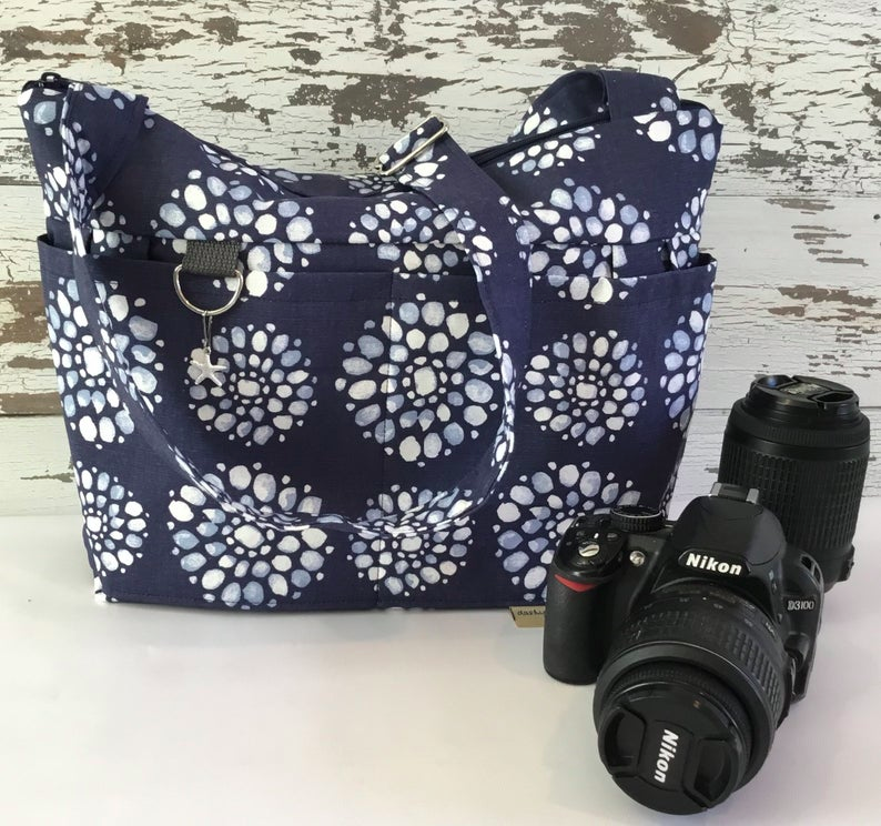 Digital Camera Purse, in Indigo blue Flowers, Washable, shoulder or cross body strap, Retro Waterproof Made in the USA by Darby Mack #camerapurse