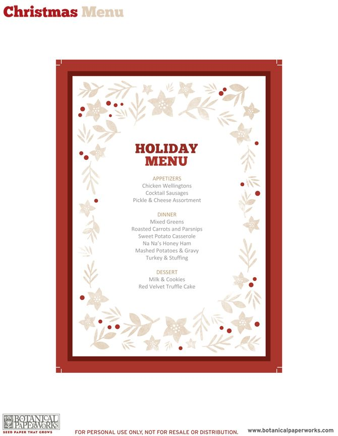 picture regarding Free Printable Menu Templates known as free of charge printable Holiday vacation Evening meal Decor Family vacation Xmas