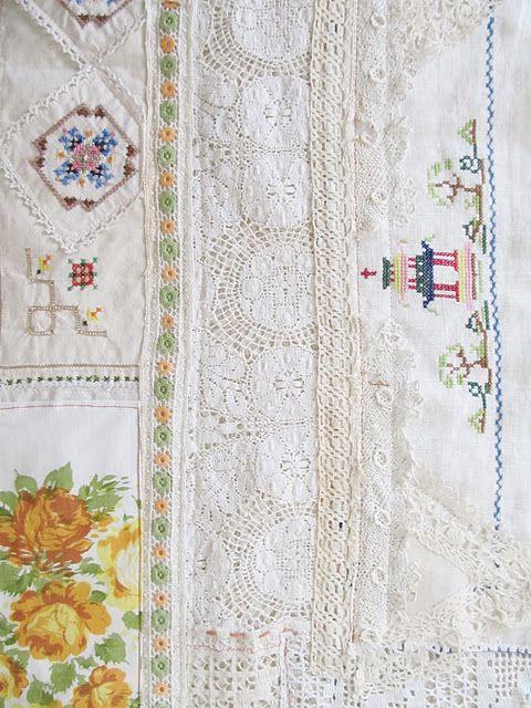 table runner of vintage linen, crochet