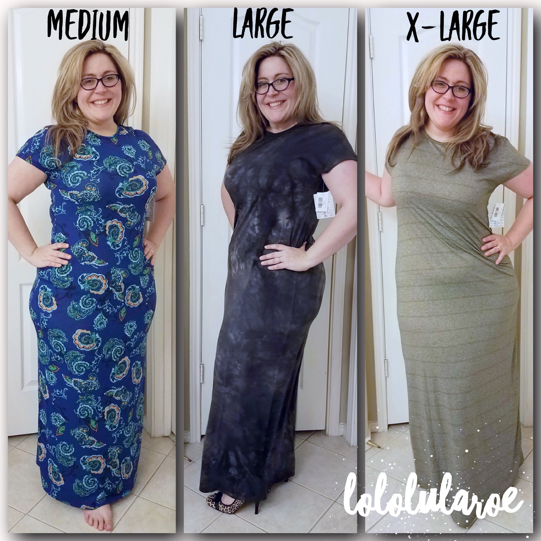 016bba6f1f0142 New LuLaRoe Maria Sizing - Here I am wearing the new Maria in three sizes.  You can see that the larger sizes add more fabric around the middle, arms,  ...