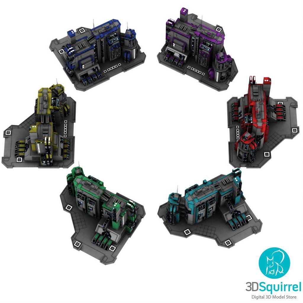 Sci-Fi City 3D Models obj fbx 3ds lxo lwo dae dxf dwg blend duf max