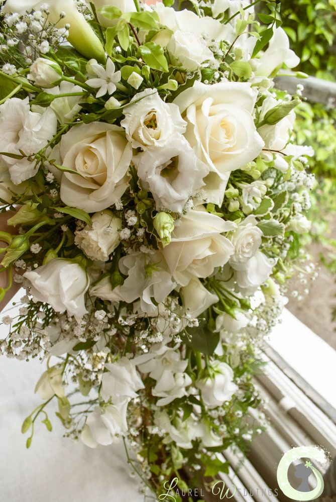Cream Calla Lily Bridal Bouquet : White and cream shower bouquet of roses bouvardia