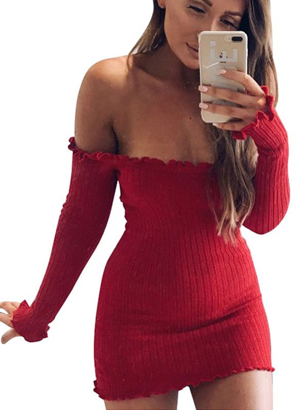 f89f0d94dd Red off shoulder ruffle and ribbed mini dress top