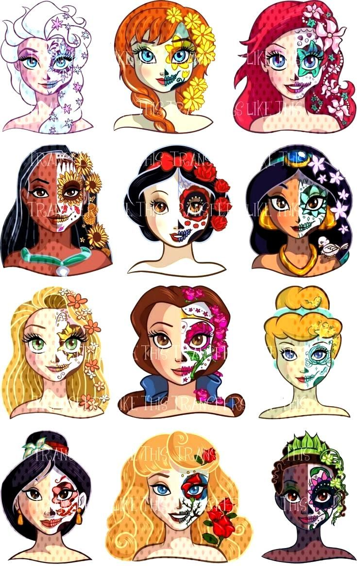 Disney princess day of the dead sugar skull sticker wall deco dds set - New Ideas Disney princess d
