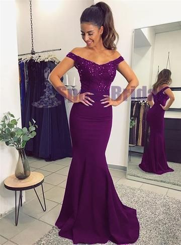 b7bb471b82b7 Off Shoulder Mermaid Purple Green Navy Elegant Most Popular Fashion Prom  Dresses