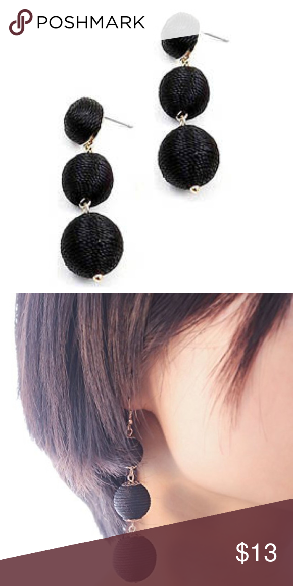 Black Thread 3 Tiered Ball Dangle Earrings Glam Dresses Acrylic Earrings Women S Earrings