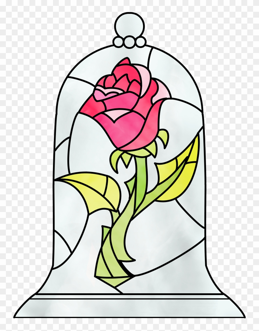 Medium Of Beauty And The Beast Rose Beauty And The Beast Rose Stained Glass Patter Beauty And The Beast Drawing Disney Stained Glass Beauty And The Beast Art