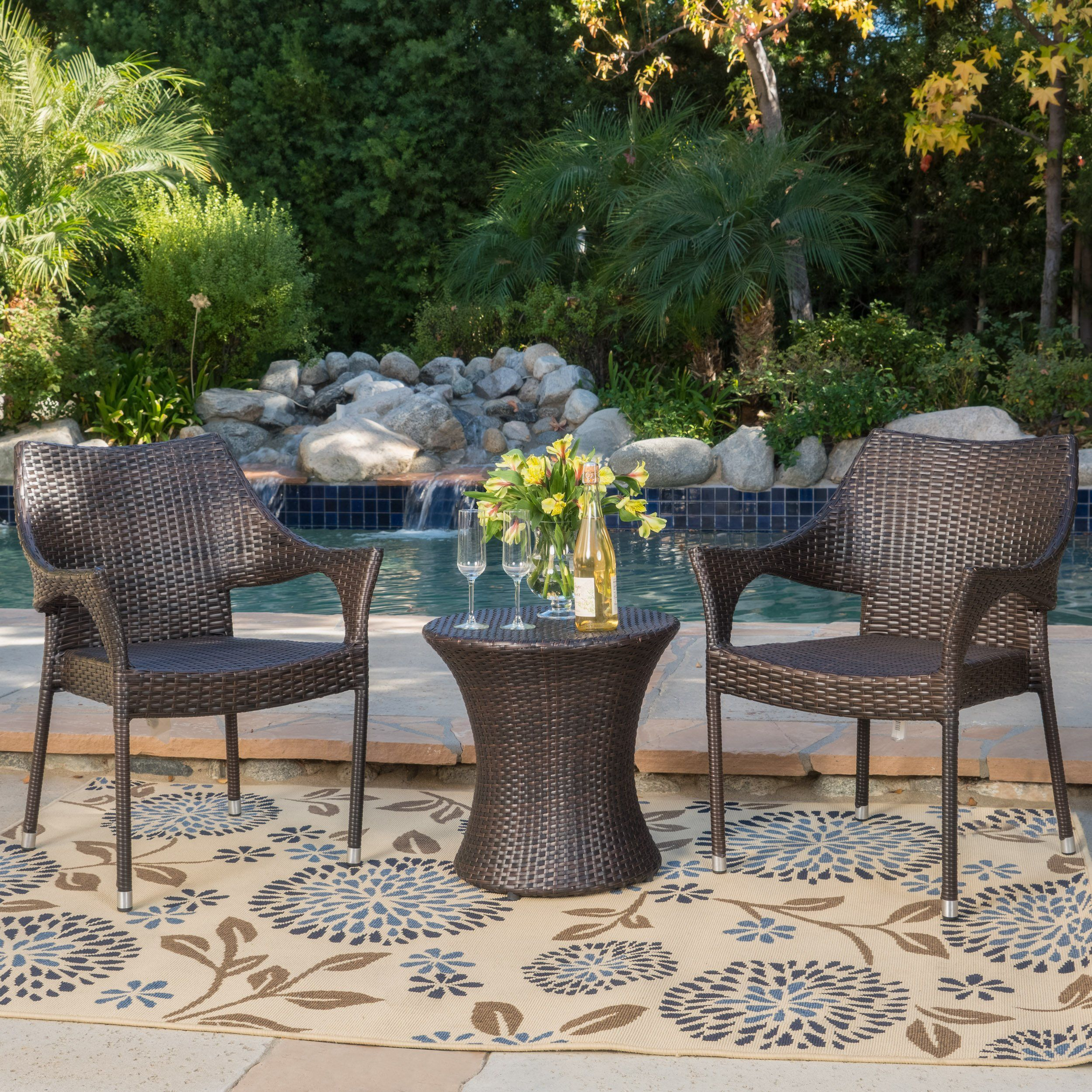 Tahitian Patio Furniture 3 Piece Outdoor Wicker Stacking Chair Conversation Chat Set Brown