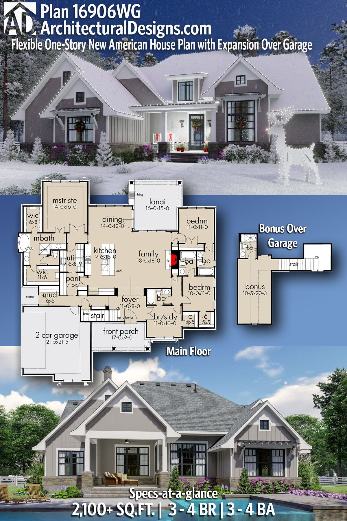 Plan 16906wg Flexible One Story New American House Plan With Expansion Over Garage American Houses Farmhouse Plans House Architecture Design