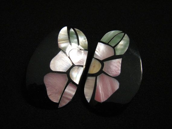 BIG Vintage Inlaid White and Pink Mother of Pearl by JewelryStash, $22.00