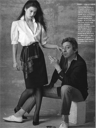 Vogue Italia, maggio 1982  Bettina Rheims e Serge Gainsbourg.Photo by Mike Yavel