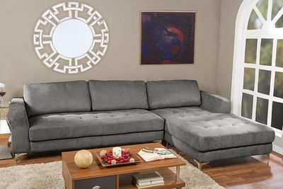 Baxton Studio Agnew Contemporary Light Beige Microfiber Right Facing Sectional Sofa