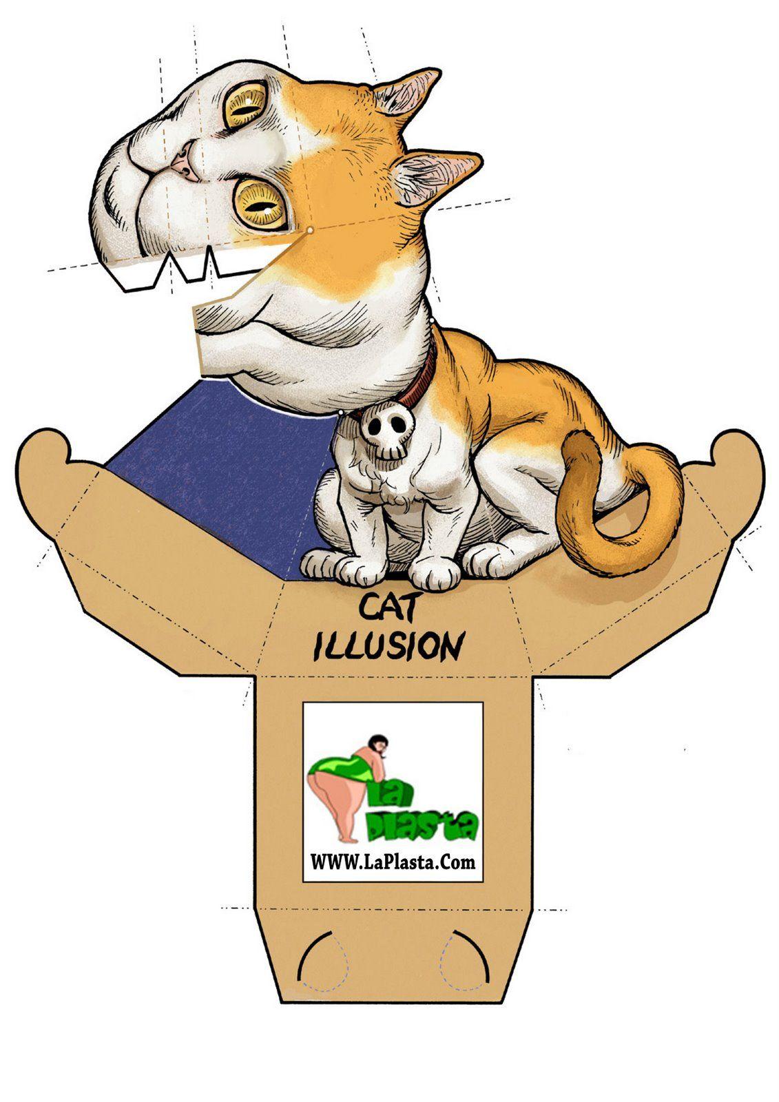 Gato Ilusion Optica Jpg Image Hewan Kertas