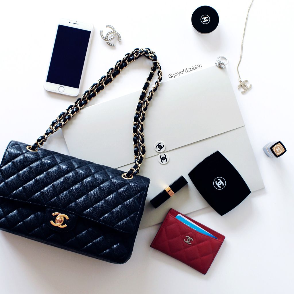 Chanel flatlay chanel card holder  pin necklaces lipstick brooch ring chanel classic flap