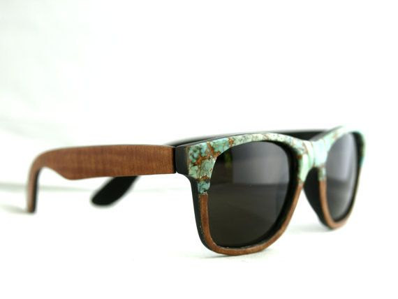 Sid's Turquoise Faced Sunglasses Wayfarer // Sapele Wood and Turquoise Spring Eyewear