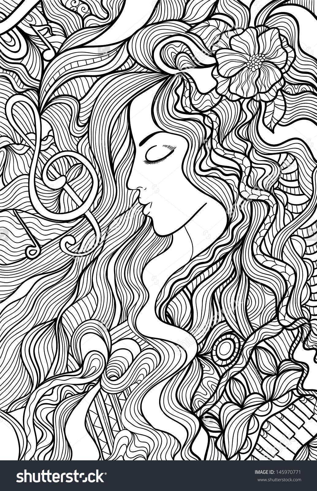 Black And White Outline Vector Illustration Of A Beautiful
