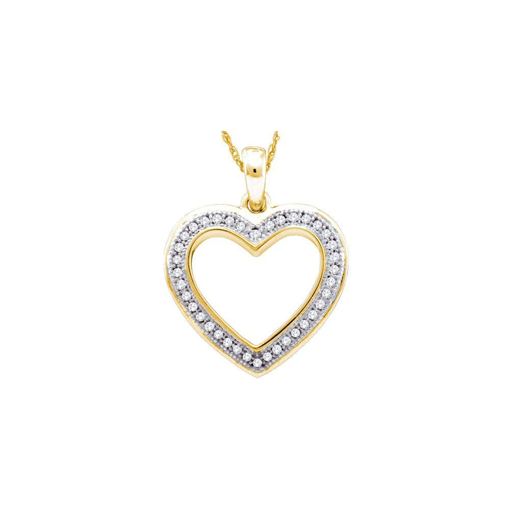 Kt yellow gold womens round diamond heart outline pendant