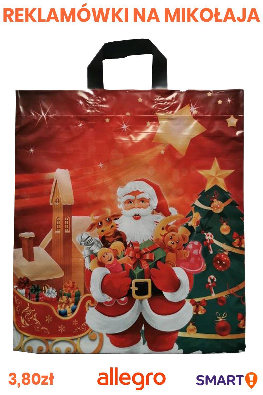 Reklamowki Mikolaj Swieta Grube Mocne 10 Szt Reusable Tote Bags Tote Bag Reusable