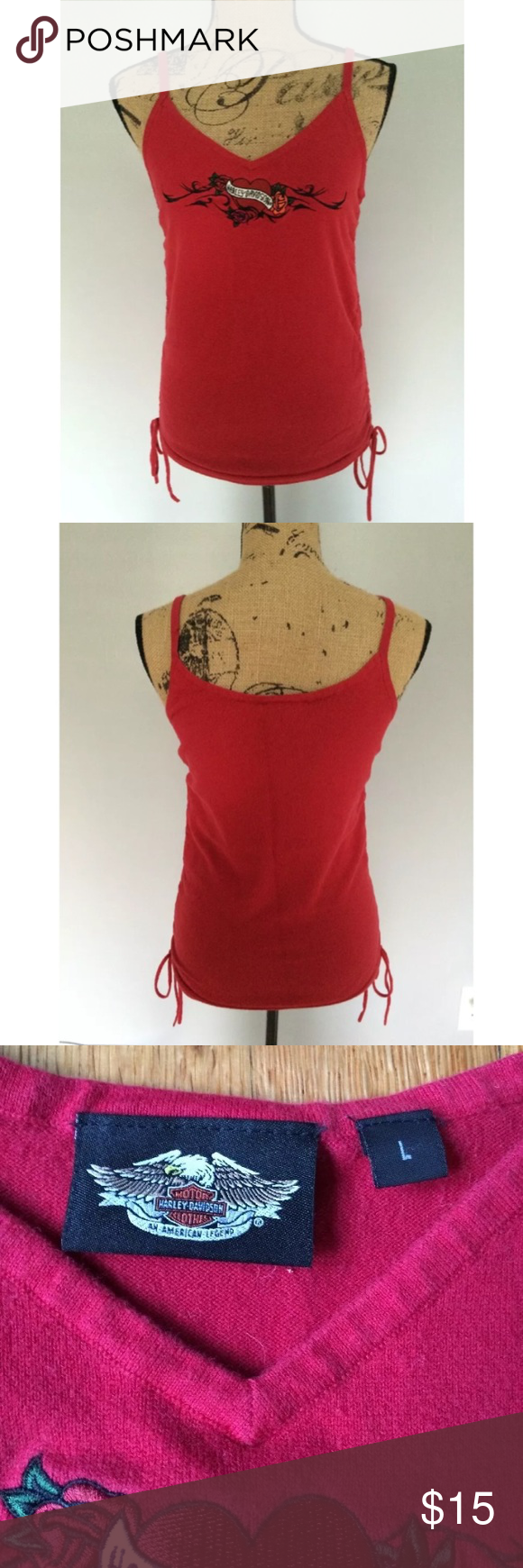 Harley Davidson Red Tank Top Cami size Large There is some wash wear, but it is still in great condition. It runs a bit small in my opinion Harley-Davidson Tops Tank Tops