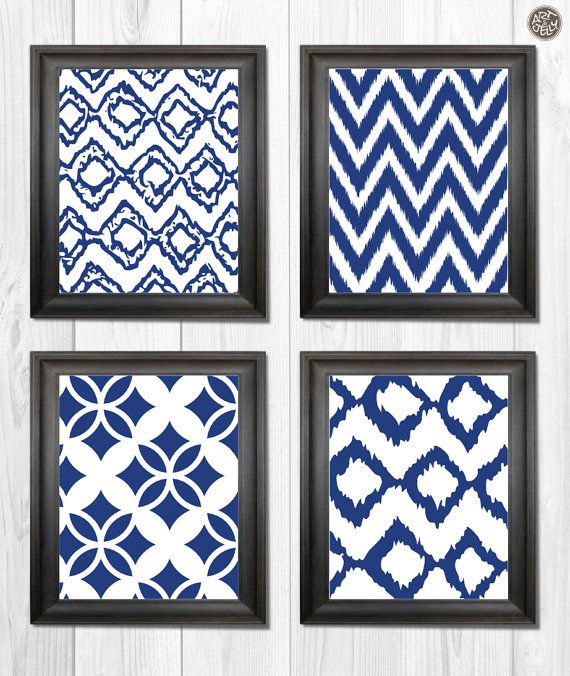 Set Of 4 Abstract Printable Decorative Wall Art Decor Patterns In Navy Blue Chevron Ikat Instant Download Indie Decor Wall Art Decor Decor