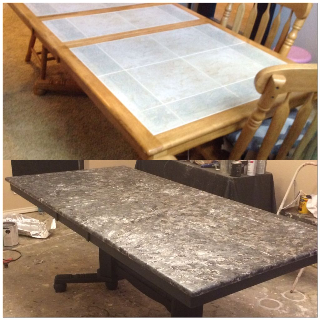 Tile Top Table Makeover With Paint Tile Top Tables Tile Tables