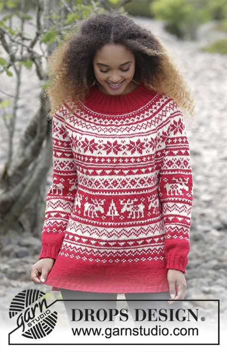 Knitted Christmas Jumper With Round Yoke And Multi Coloured Nordic