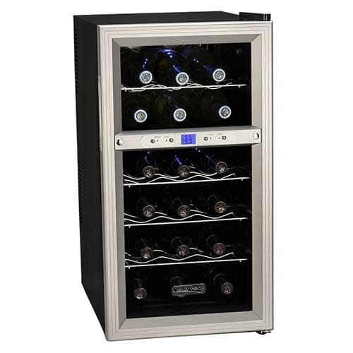 Koldfront 18 Bottle Dual Zone Thermoelectric Wine Cooler Silver Black Does Not Ship To California Dimensions 26 1 4 H X 13 5 8 W X 19 Thermoelectric Wine Cooler Wine Refrigerator Thermoelectric Cooling