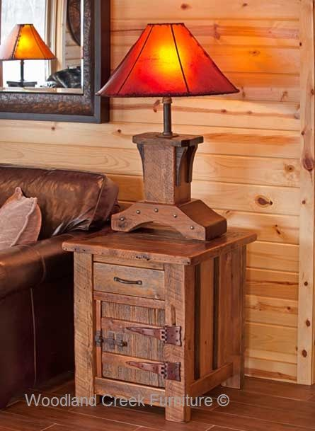 Cabin Bedroom Fitted Furniture: Antique Wood Furniture, Rustic End Table, Cabin
