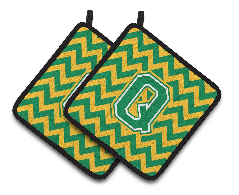 Letter Q Chevron Green and Gold Pair of Pot Holders CJ1059-QPTHD