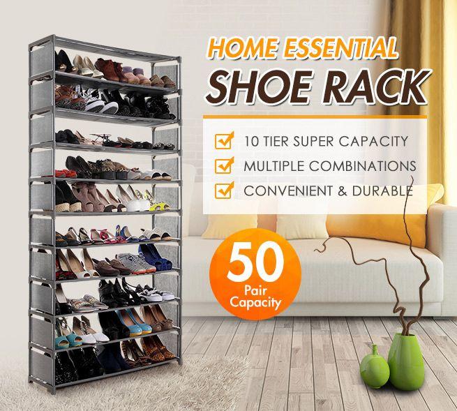 10 Tier Stackable Shoe Rack 50 Pair