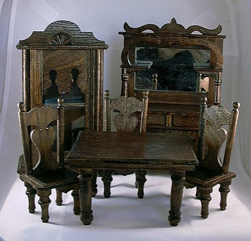 Antique Dollhouse Dining Room Set