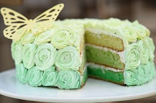 Green Ombre Cake by Cupcakes and Sundry: so pretty