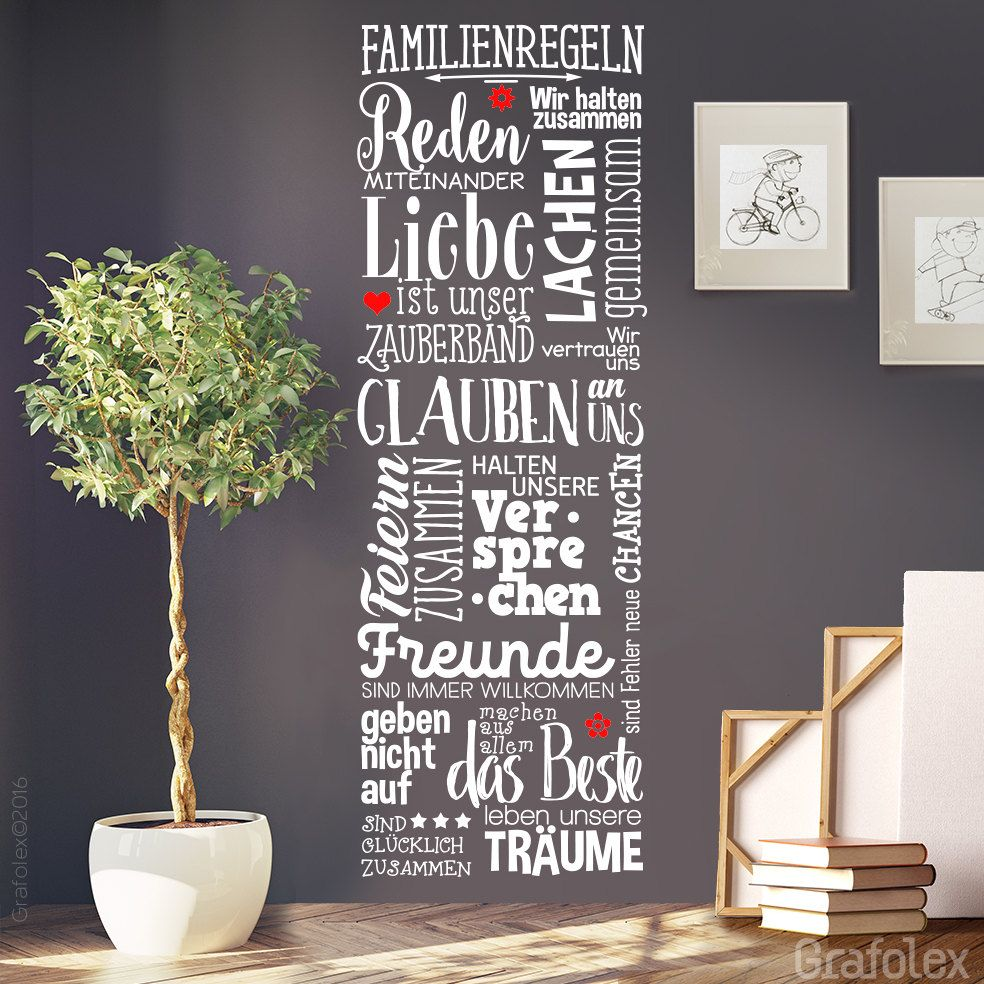 wohnzimmergestaltung mit wandtattoo, stickers family rules home house love living room wall sticker wall, Design ideen