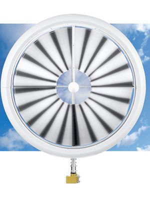 Affordable, Efficient Rooftop Wind Power, 95-pound system with 20 replaceable blades that can generate power with even 2-mph winds.