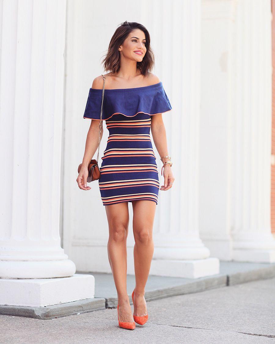 f77109cd8 Striped Off-the-Shoulder Dress | Camila Coelho☆ | Looks femininos ...