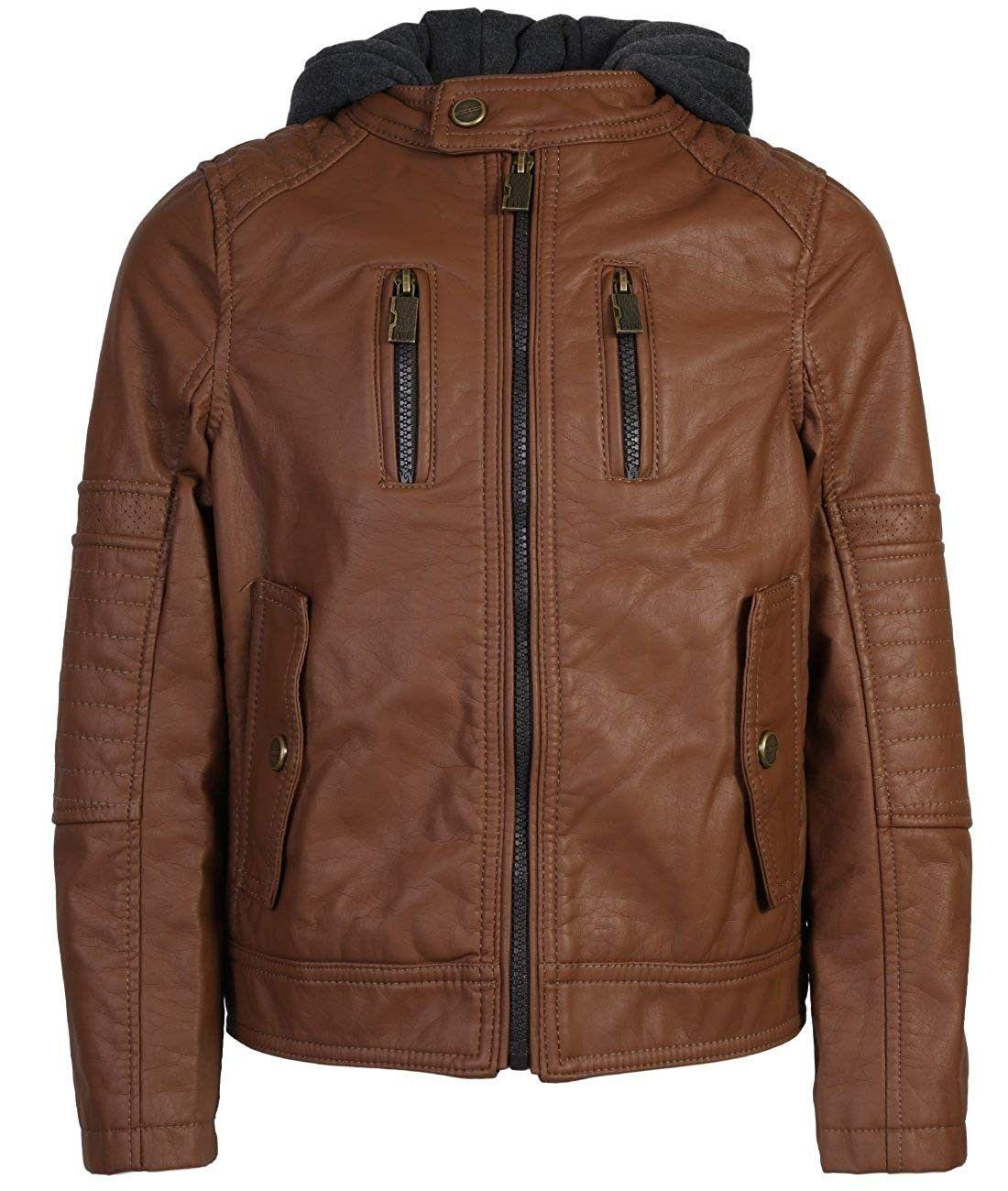 Boys Faux Leather Biker hooded Jacket Cognac W/Flap