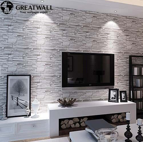 Great wall 3d pvc modern brick wallpaper for living room - Papel pared moderno ...