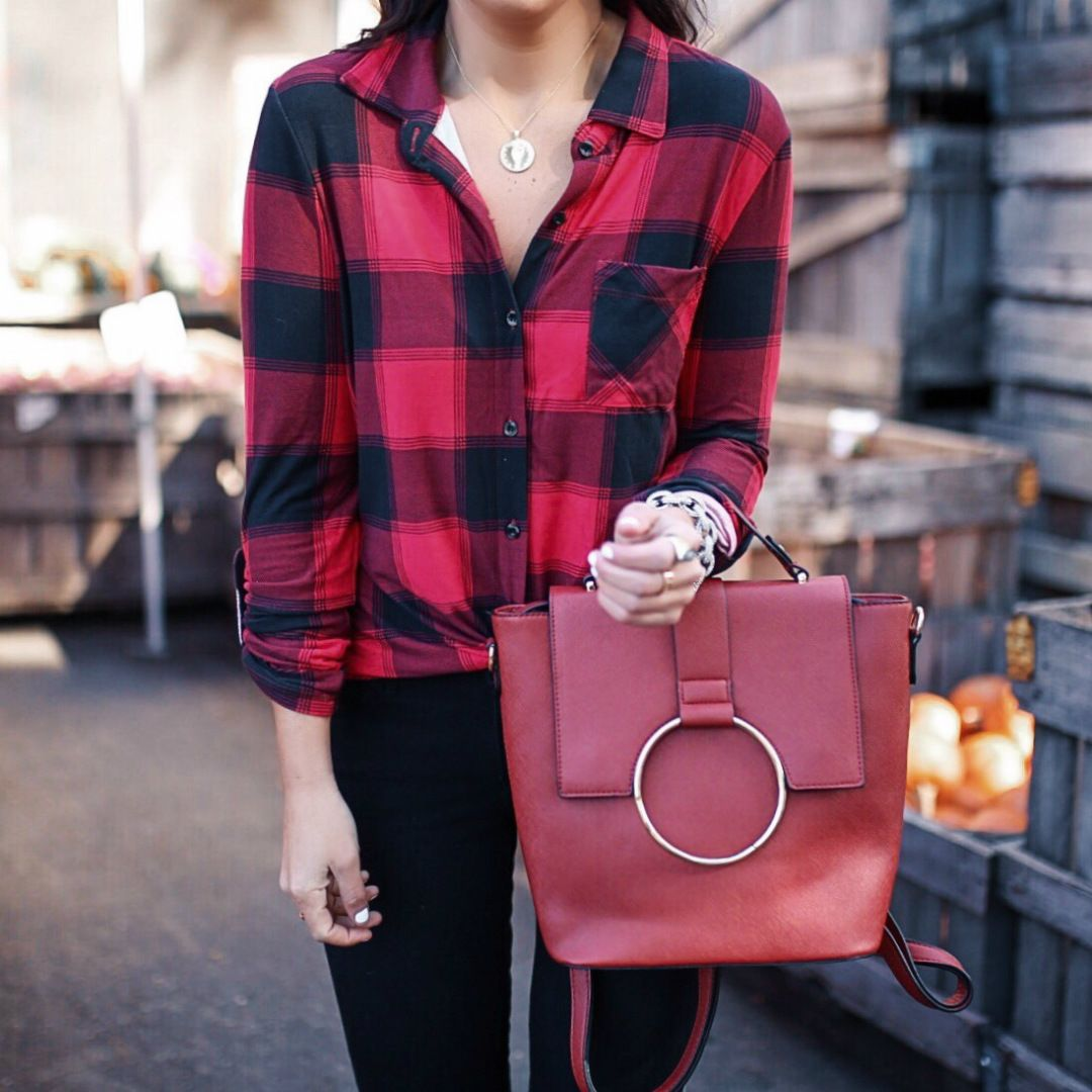 161544bb82d1 blogger Sarah Lindner of The House of Sequins wearing black Levi s 711  Skinny Jeans and Plaid