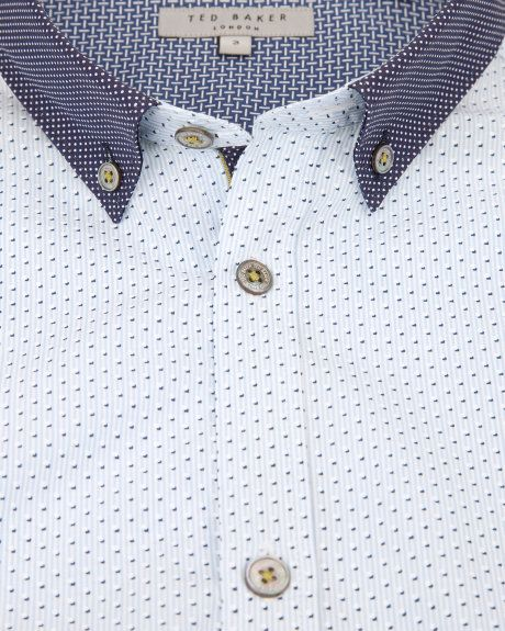 d77fdb37b DOTODOT - Stripe dot printed shirt - Blue