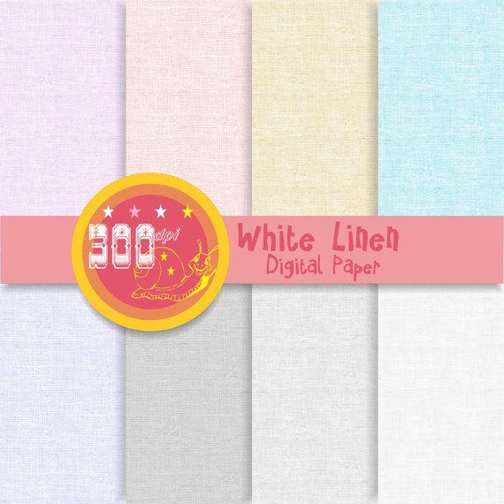 Linen digital paper 'White Linen' backgrounds white by GemmedSnail, $3.20