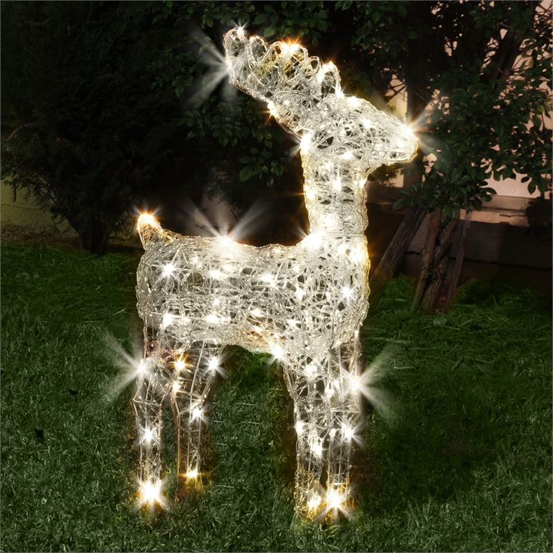 Lytworx 80 Led 3d Standing Reindeer Festive Silhouette Reindeer Lights White Acrylics Warm White